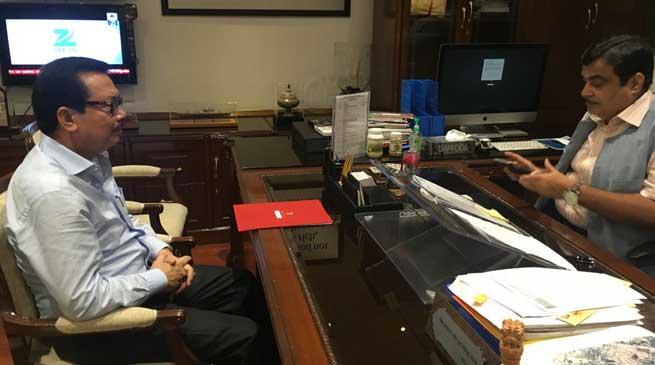 Gadkari assured to Mein expedite the sanction of Itanagar- Banderdewa 4 lane Road Project