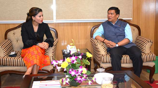 Boxer MC Mary Kom called on Chief Minister Pema Khandu