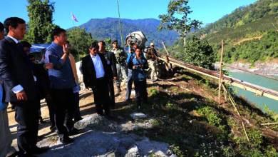Khandu inspects Nugong suspension Bridge over Siang River