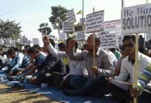 Photo of ABSU stage Dharna against shortage of text book distribution