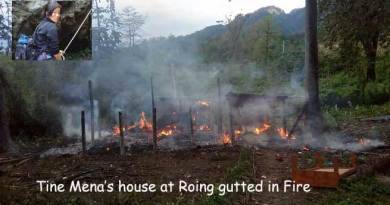 Tine Mena house at Roing gutted in Fire
