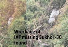 Wreckage of IAF missing Sukhoi -30 fighter jet found