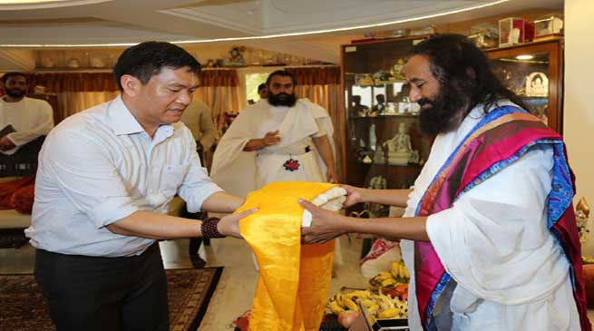 Pema Khandu visits Art of Living International HQ