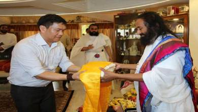 Photo of Pema Khandu visits Art of Living International HQ