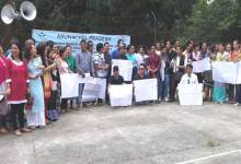 Itanagar- AASBMEA stages sit-in Dharna at Indira Gandhi Park