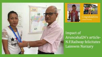 Impact of Aruncahal24's article- N.F.Railway felicitates Laimwm Narzary