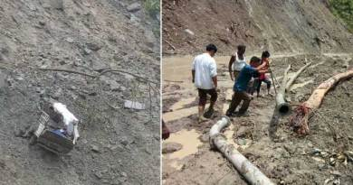 Landslide on Bhalukpong-Bomdila road, Mahindra Bolero severely damage