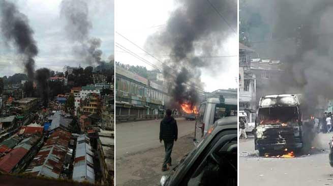GJM indefinite Darjeeling Bandh - Violence, Arson continue