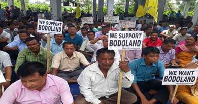 Bodo Employees sitting on dharna demanding Bodoland