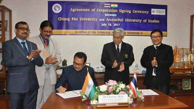 Photo of Agreement for Educational Exchange signed between AUS and CMU of Thailand