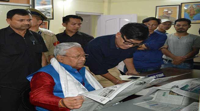 Itanagar- Guv PB Acharya visits Public Library cum e-Library