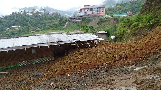 Itanagar-Fresh landslide claim two houses in Museum colony