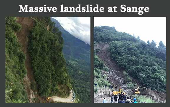 Massive landslide at Sange in West Kameng