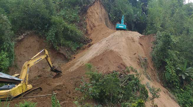 The restoration work at Dree ground on NH-415 is in war footing