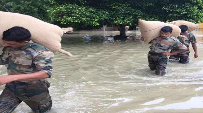 Army Continues to Provide Relief to the flood effected people in Assam