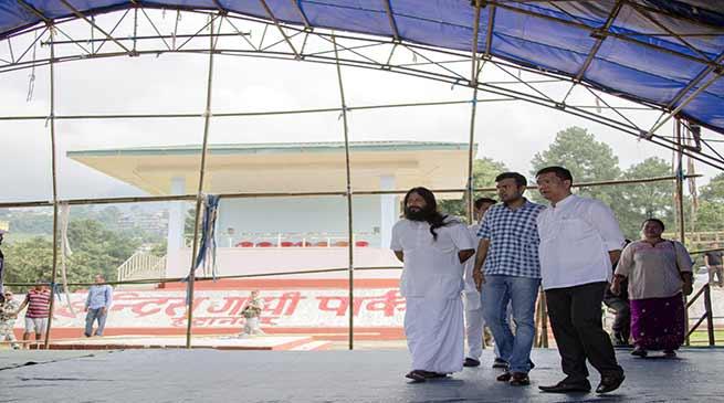 Khandu inspects the preparation at IG park where Sri Sri Ravishankar will participate in an Inter-Faith and Culture Programme