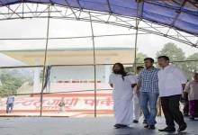 Photo of Khandu inspects the preparation at IG park where Sri Sri Ravishankar will participate in an Inter-Faith and Culture Programme