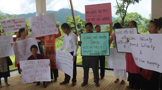 Arunachal- RMSA teachers stages dharna demanding release of salary