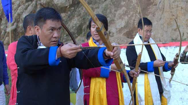 CM Pema Khandu inaugurates Archery Stadium at Lumla