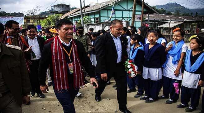CM khandu expresses shock over the dilapidated condition of school in Daporijo