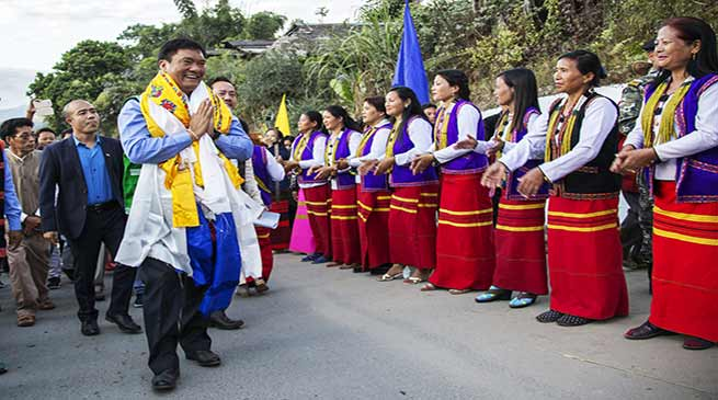 CM Pema Khandu Visits Yingkion, Lays foundation stone of Circuit House