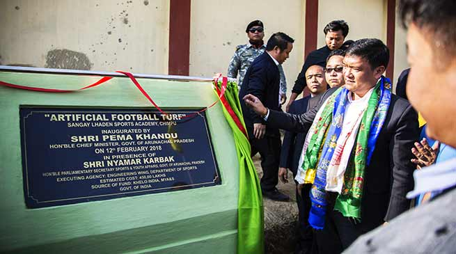 Arunachal: Pema Khandu inaugurates 'Artificial Football Turf '