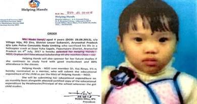 Nada Senyi of Arunachal selected for first CSR orphan girl child scholarship