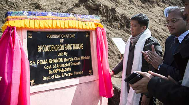 Arunachal: Khandu lays foundation stone for Rhododendron Park in Tawang