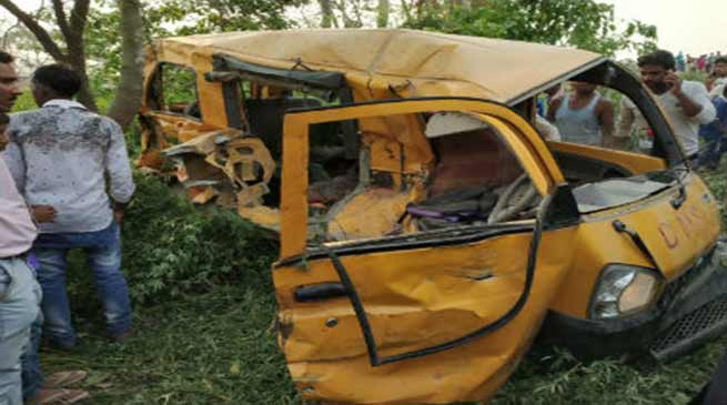 UP- 13 school student dead after school Bus-train collision
