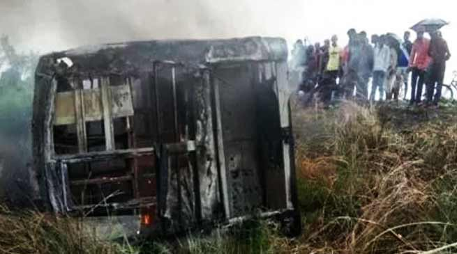 Bihar: 27 killed in blaze after bus overturns and catches fire in Motihari