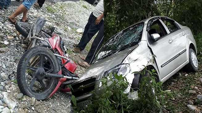 Arunachal: Motorbike rider seriously injured in a road accident near Roing