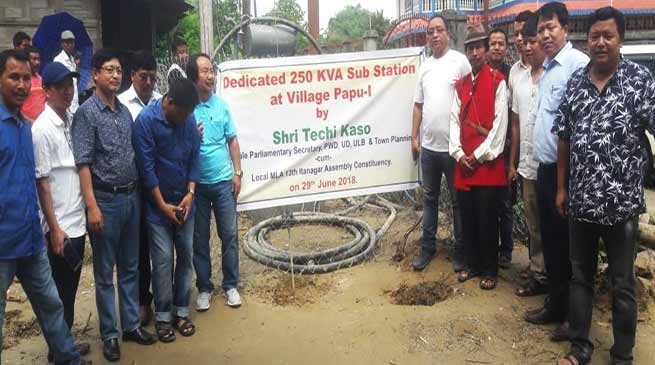 Itanagar- Techi Kaso donates power transformer to Papu-I village