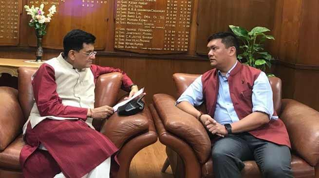 Khandu requests Goyal to expedite railway projects in Arunachal Pradesh