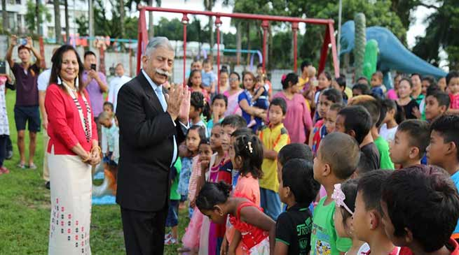 Itanagar:Governor Visits Children Park, interacts with Children
