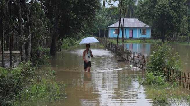 Arunachal:Hollongi Patila village submerge after heavy rain triggers flash flood