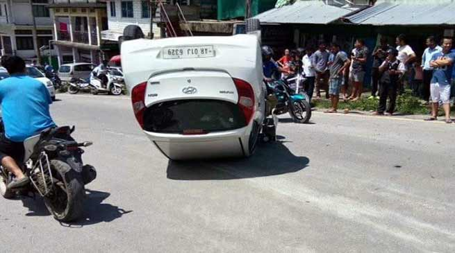 Itanagar : Car turns over after hitting Nano in Bank Tinali