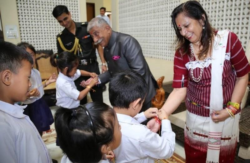 Arunachal: Governor celebrates Raksha Bandhan with school children at Raj Bhavan