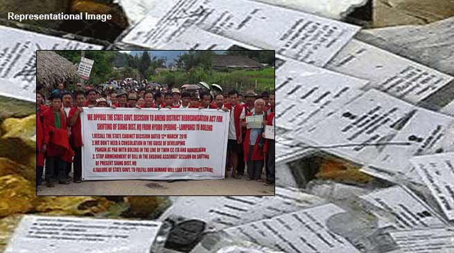 Arunachal: people of Pangin and Kebang surrendering EPIC in protest against shifting of Siang HQ
