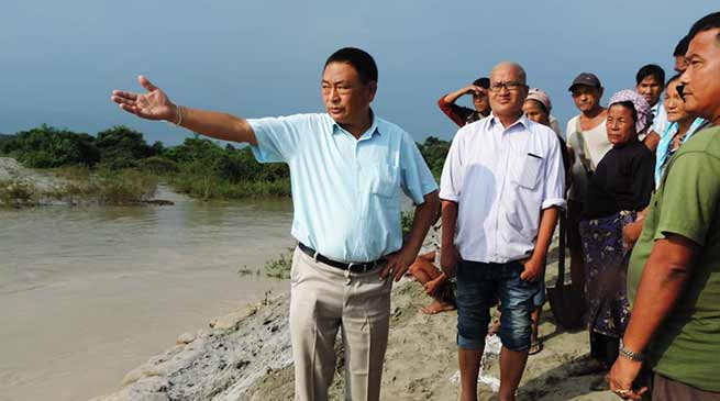 Arunachal: Ering visits flood effected villages and erosion hit sites