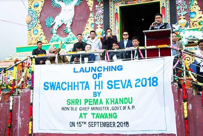 Arunachal:Khandu launches 'Swachhata Hi Sewa' by cleaning the street at Tawang