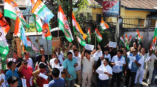 Arunachal:  APCC protest outside CBI office in Itanagar