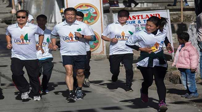 Arunachal CM runs for unity on 'Rashtriya Ekta Diwas' in Tawang