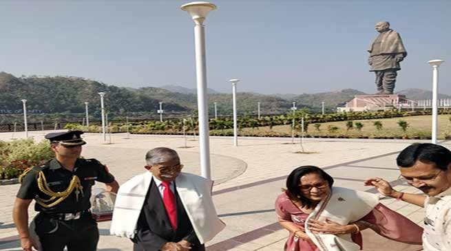 Arunachal Governor visits Statue of Unity, takes up tourism issues with MoS Tourism