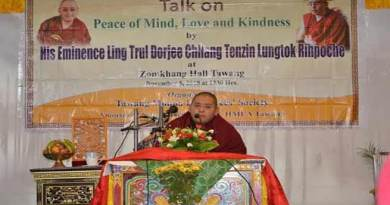 Tawang: Tenzin Lungtok Rinpoche gave a talk on 'Peace of mind Love and Kindness'