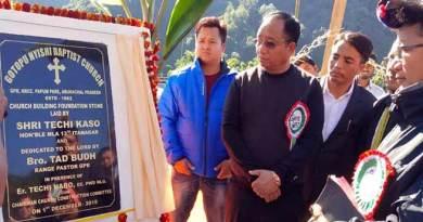 Arunachal: Kaso lays foundation stone of Baptist church building at Sagalee