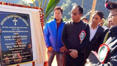 Photo of Arunachal: Kaso lays foundation stone of Baptist church  building at Sagalee