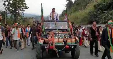 Arunachal election mood:  Kumsi Sidisaw gets warm welcome at Bhalukpong