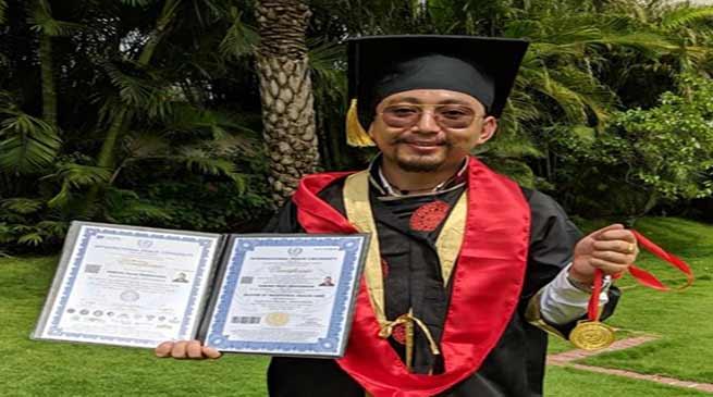 Arunachalee naturopathy Dorjee Tashi Thongharpa awarded PhD by International Peace University Germany