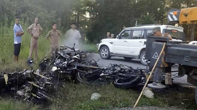 Tezu: College Student dies after Bike collision, mob burns 4 bikes at accident site