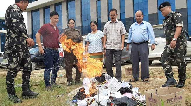 AP Secretariat Admin destroys 45 Kgs Seized Tobacco products worth Rs 50 thousand